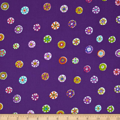 Michael Miller Melodies Folk Floral Dot Plum