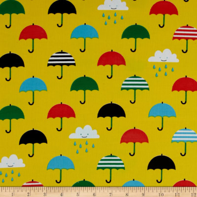 Cloud 9 Organic Corduroy Small World Umbrella's Yeloow