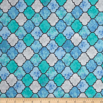 Michael Miller Migration Tangier Tile Blue