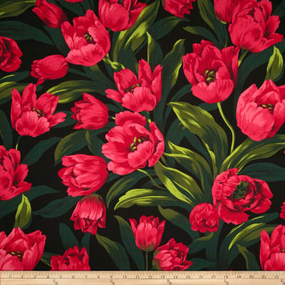Michael Miller Ruby Tulips Black
