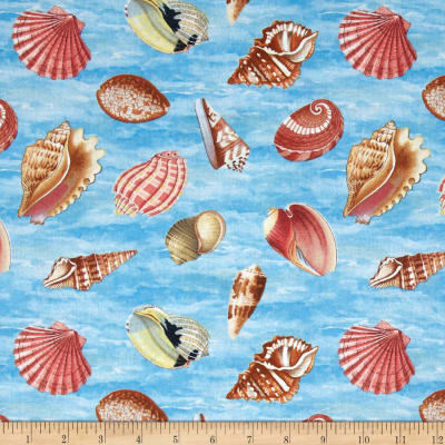 Seaside Wonders Seashells Blue