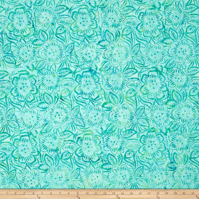 Wilmington Batiks Dancing Flowers Aqua