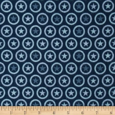 Riley Blake Lucky Star Flannel Circle Blue
