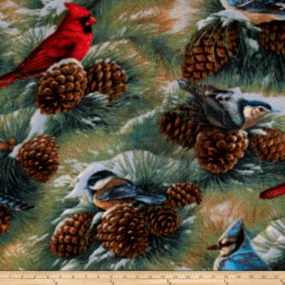 Birds & Pinecones Fleece Tan/Green/Multi