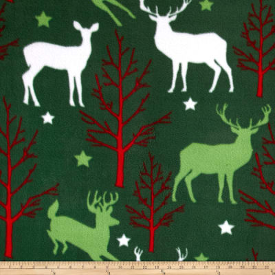Christmas Deer & Trees Forest Green