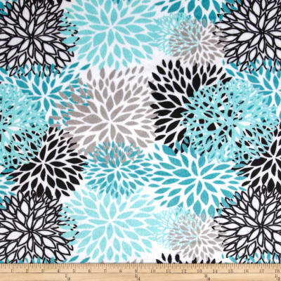 Shannon Premier Prints Minky Cuddle Blooms Teal