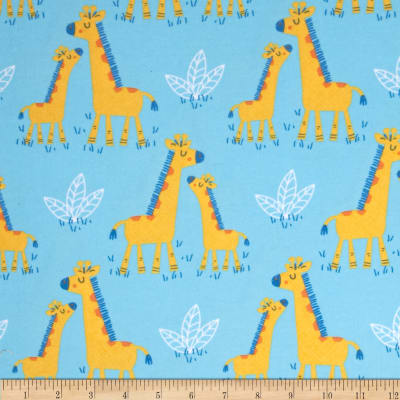 Timeless Treasures Flannel Giraffes Blue