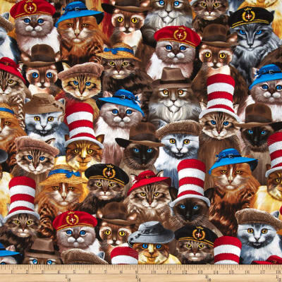 Timeless Treasures Cats In Hats Natural