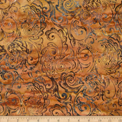 Timeless Treasures Tonga Batik Citrus Mint Feather Scroll Maple