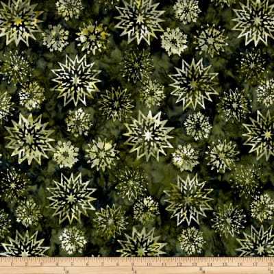 Timeless Treasures Tonga Batik City Lights Snowflake Mix Seaweed