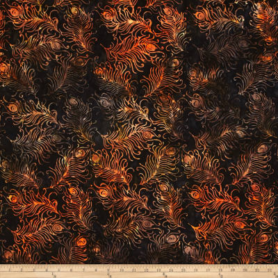 timeless Treasures Tonga Batik Feathers Black