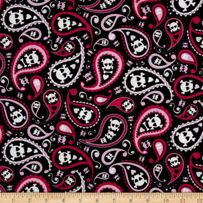 Timeless Treasures Skull Paisley Pink