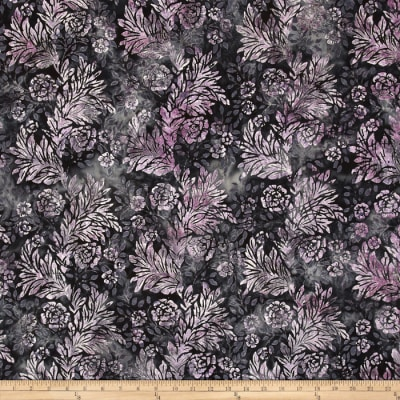 Bali Batiks Handpaints Flower & Leaf Tanzanite