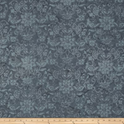 Bali Batiks Handpaints Floral Damask Grey