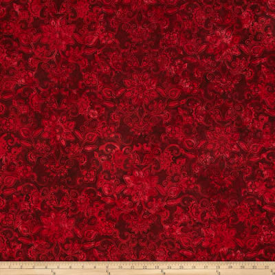 Bali Batiks Handpaints Floral Damask Red Velvet
