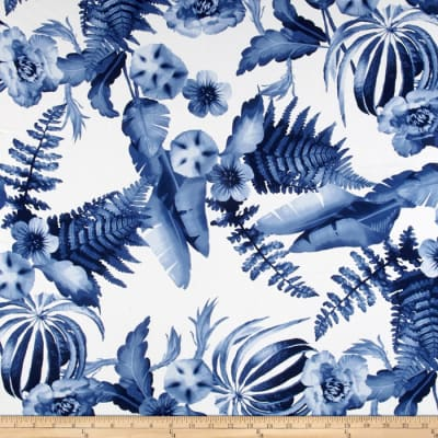 Telio Monet Rayon Sateen Floral Blue/White