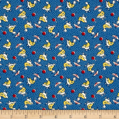 Summer Days Ducks in Slickers Navy