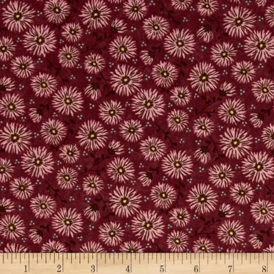 Moda Print Charming Mums Dark Berry