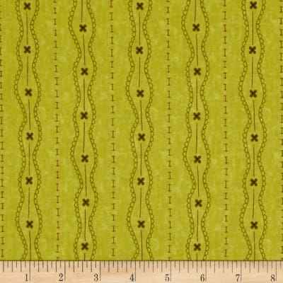 Moda Print Charming Lacey Stripe Olive