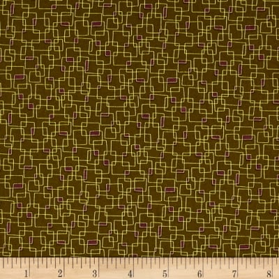 Moda Print Charming Geometric Boxes Dark Olive