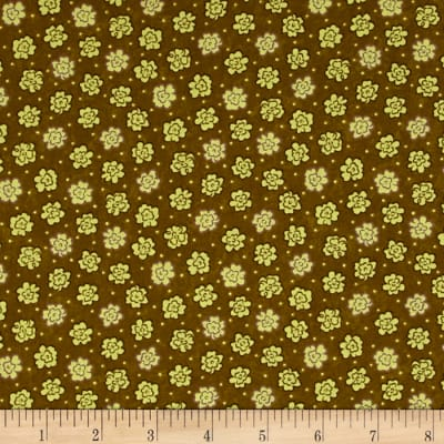 Moda Print Charming Etched Flowers Dark Olive
