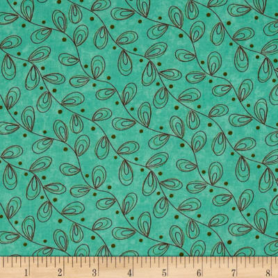 Moda Prints Charming Leaves Teal