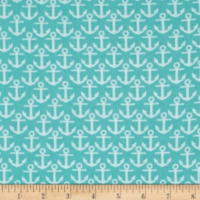 Nautical Treasure Anchors Dark Turquoise