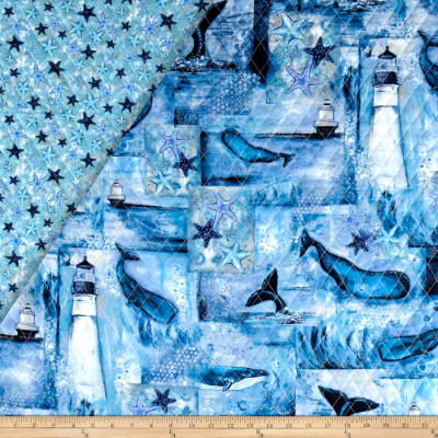 Follow The Light Double Sided Quilted Lighthouse & Whales