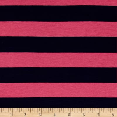 Designer Stretch Rayon Jersey Knit Stripe Pink/Navy