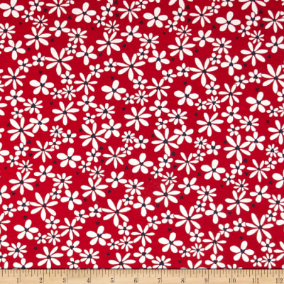 T-Shirt Jersey Knit Floral Red/White