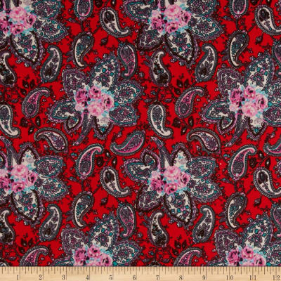 Stretch ITY Jersey Knit Paisley Red/Teal/Pink