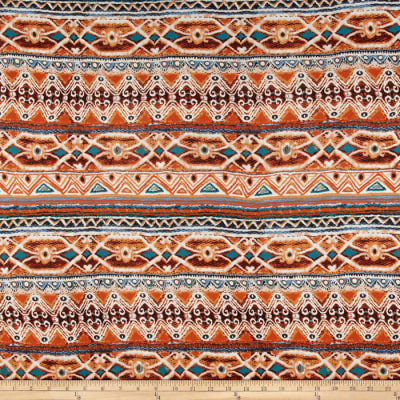 Rayon Spandex Knit Tribal Rust/Teal