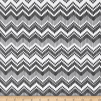 Cotton Lycra Spandex Jersey Knit Dash Chevron White/Black