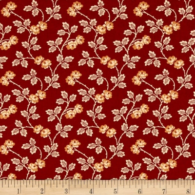 Little House On The Prairie Floral Vine Red