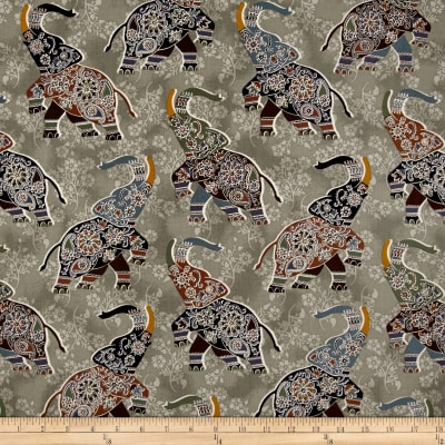 Bombay All Over Elephants Gray