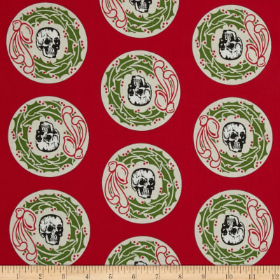 Mr. Chillingsworth Christmas Skeleton Head Wreath Red
