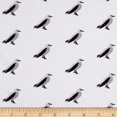 Riley Blake Cotton Jersey Knit Idle Wild Birds Gray