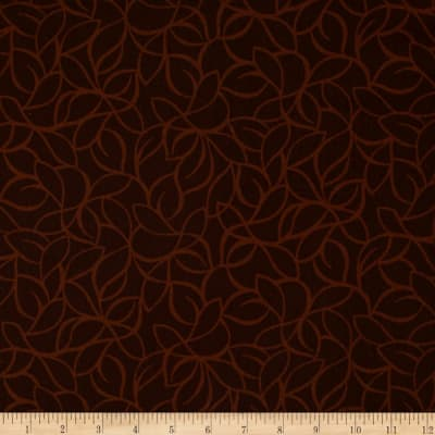 "108"" Wide Quilt Back Windsor Leaves Chocolate"