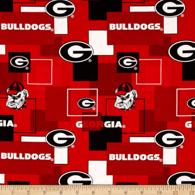 Collegiate Cotton Broadcloth University Of Georgia Block Print