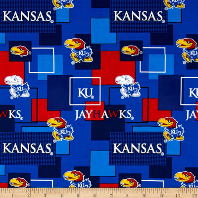 Collegiate Cotton Broadcloth University Of Kansas Block Print
