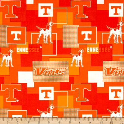 Collegiate Cotton Broadcloth University Of Tennessee Block Print Purple