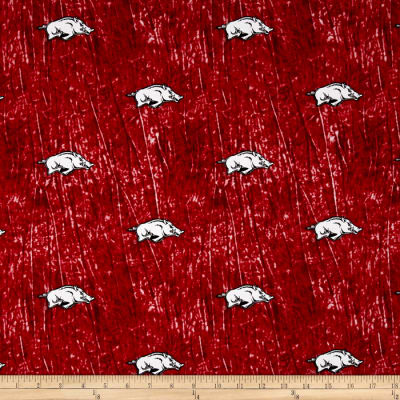 Collegiate Cotton Broadcloth University of Arkansas Tie Dye Print Red