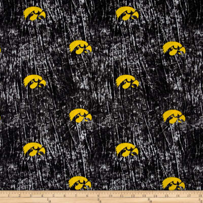 Collegiate Cotton Broadcloth University of Iowa Tie Dye Print Black