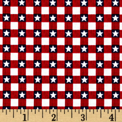 American Anthem Gingham Star Red