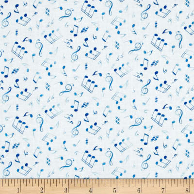 Jazz Tossed Musical Notes White/Royal