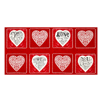 Moda Ever After 23'' Panel Romantic Red