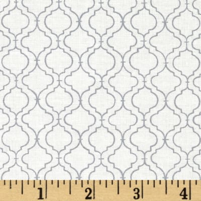 Moda Ever After Quatrefoil Lattice Ivory/Grey