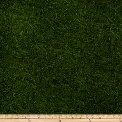 """108"""" Wide Quilt Back Chelsea Dot Paisley Green"""