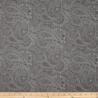 "108"" Wide Quilt Back Chelsea Dot Paisley Medium Grey"