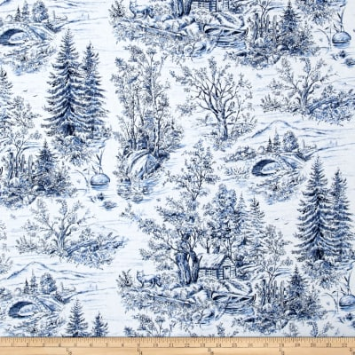Woodland Forest Forest Scenic Toile White/Blue